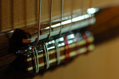 Guitar Strings. Spanish Concert Guitar closeup royalty free stock images