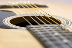 Guitar Strings, close up. Acoustic guitar. Royalty Free Stock Photography