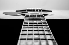 Guitar Strings, close up. Acoustic guitar. Royalty Free Stock Photos