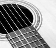 Guitar Strings, close up. Acoustic guitar. Stock Photos