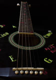 Guitar Strings. Strings of a cool decorated black acoustic guitar with black background Royalty Free Stock Image