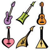 Guitar and strings icons Stock Photos
