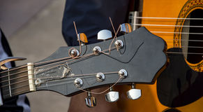 Guitar strings with tuning knobs. Of chrome Stock Image