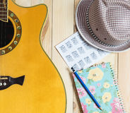 Guitar Summer Travel kit for song writing diary. Guitar Summer Travel kit for song writing and diary Stock Photos