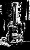 Guitar. The symbolic image of an acoustic guitar on a black background royalty free illustration