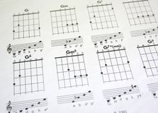 Guitar tab. With music symbols royalty free stock images