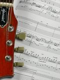 Guitar and tab. Guitar on top of music tablature Stock Images