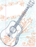 Guitar with Text Area. Hand drawn guitar with large text box. all elements on separate layers, easily edited Stock Photos