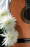 Guitar with three flowers Royalty Free Stock Image