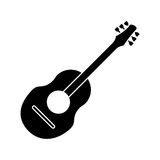 Guitar traditional acoustic music pictogram Royalty Free Stock Images