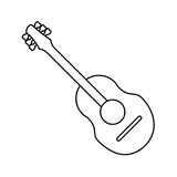 Guitar traditional acoustic music thin line Royalty Free Stock Photos