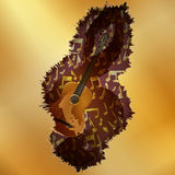 Guitar with a treble clef across the golden plane Stock Photo