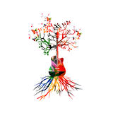 Guitar Tree. Colorful guitar with tree top and root Stock Photos