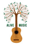 Guitar tree live music quote concept illustration Royalty Free Stock Image