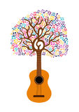 Guitar tree music note concept illustration Stock Image