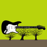 Guitar on trees. Grunge illustration of an electric guitar on top of leafless trees with a green sky.  Also in vector format Royalty Free Stock Photography