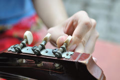 Guitar Tuning. Before perform some music Stock Photo