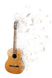 Guitar turning into musical notes Stock Images