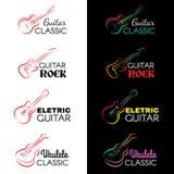 Guitar and ukulele line draw logo vector set design Royalty Free Stock Photo