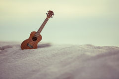 Guitar ukulele on sand beach. Filtered image processed vintage effect Stock Photos