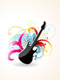 Guitar Vector art. Beautiful  colorful guitar design with beautiful floral round it Stock Images