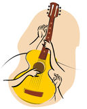 Guitar 01. Vector music poster in  retro style - Guitar in the snow with fir branches and arms Royalty Free Stock Photo
