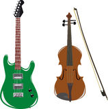 Guitar and violin. Illustration of the guitar and violins on white background Royalty Free Stock Images