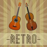 Guitar and violin with retro background with star and stripes. Vector guitar and violin with retro background with star and stripes. Retro vector design Royalty Free Stock Image