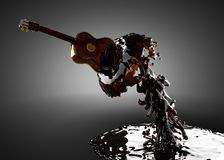Guitar in water Stock Image