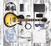 Guitar and wear and accessories Royalty Free Stock Images