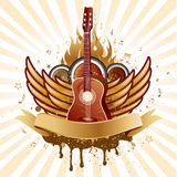 Guitar and wings. Music theme background Royalty Free Stock Photography