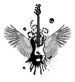 Guitar Wings. Skulls vector illustration Stock Photos