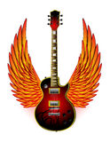 Guitar Wings Fire. Dark red electric guitar decorated with a black tribal and a pair of fiery wings Stock Image