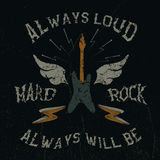 The guitar with wings and hard rock text.Vintage label Royalty Free Stock Images