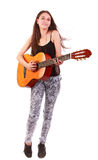 Guitar woman. Beautiful woman with guitar isolated on white Royalty Free Stock Photography