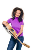Guitar woman player portrait Stock Photos