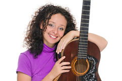 Guitar woman player portrait Stock Images