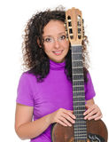 Guitar woman player portrait Royalty Free Stock Photography