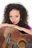 Guitar woman player portrait Royalty Free Stock Images