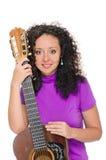 Guitar woman player portrait Stock Photo
