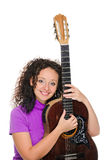 Guitar woman player portrait Stock Photography