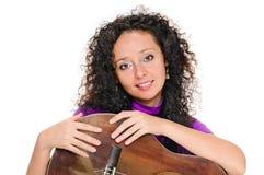 Guitar woman player portrait Stock Photos