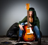 Guitar woman Stock Image
