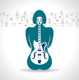 Guitar in woman's body icon Stock Image