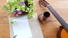 Guitar on a wooden royalty free stock photo