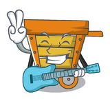 With guitar wooden trolley mascot cartoon. Vector illustration royalty free illustration