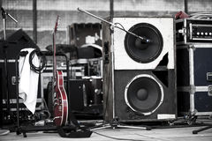 Guitar and woofer Royalty Free Stock Images