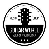 Guitar world logo with guitars neck head. Round logo for music shop. Back and white with guitar head neck Royalty Free Stock Images