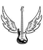 Guitare électrique avec des ailes Guitare électrique stylisée avec des ailes d'ange Illustration de Vecteur