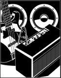 Guitare électrique avec des haut-parleurs d'ampère et de puissance Photos libres de droits